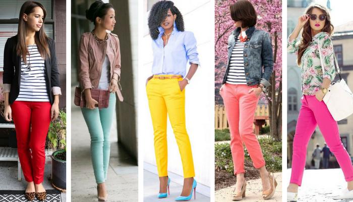 cómo combinar pantalones de colores