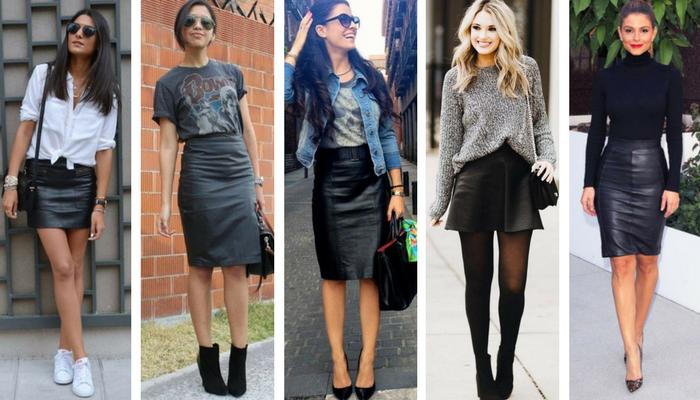 cómo combinar una falda de cuero negra 2