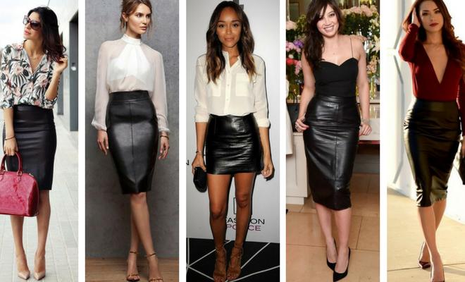 cómo combinar una falda de cuero negra
