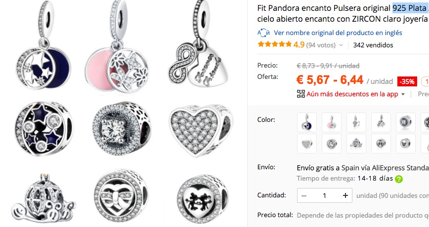 Los charms que venden en AliExpress son de plata